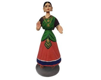 "Vintage Handmade 4 Piece Paper Mache 12"" Indian Dancing Thanjavur Doll / Talai Aati Bommai Bobble Figurine"