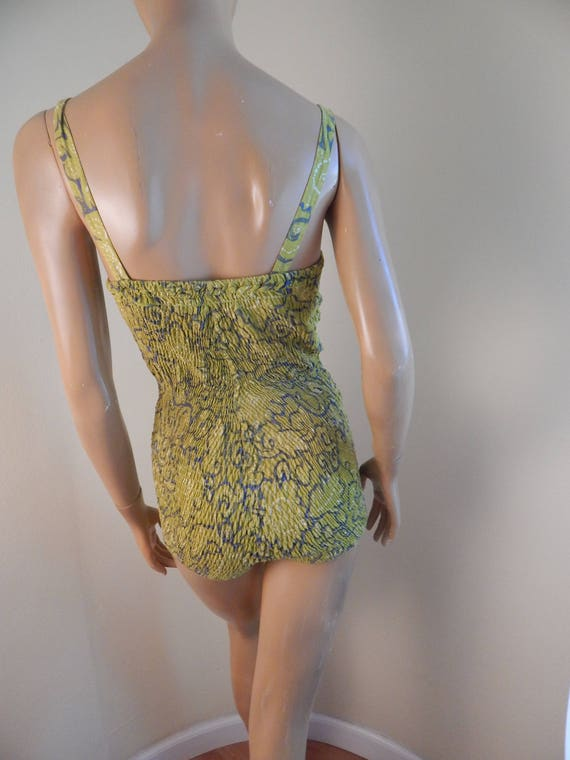 vintage swimsuit, one piece swimsuit, ruched elas… - image 2