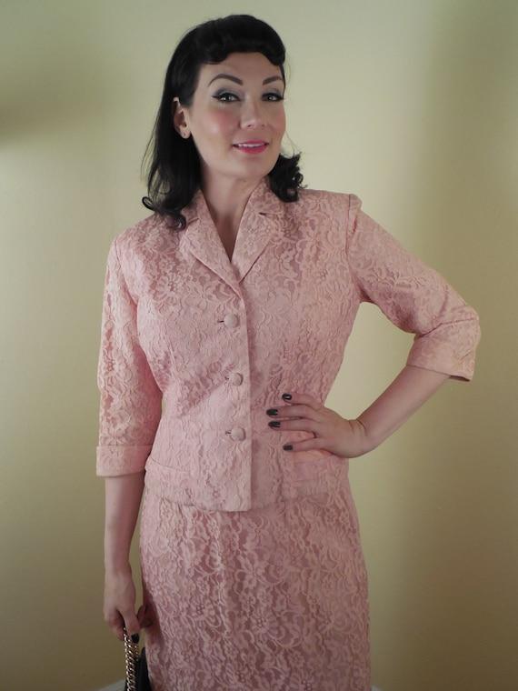 Vintage Pink Suit, 1960s lace suit, bridal, PIN UP
