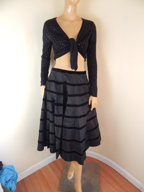 vintage 50s taffeta and velvet skirt, black velvet