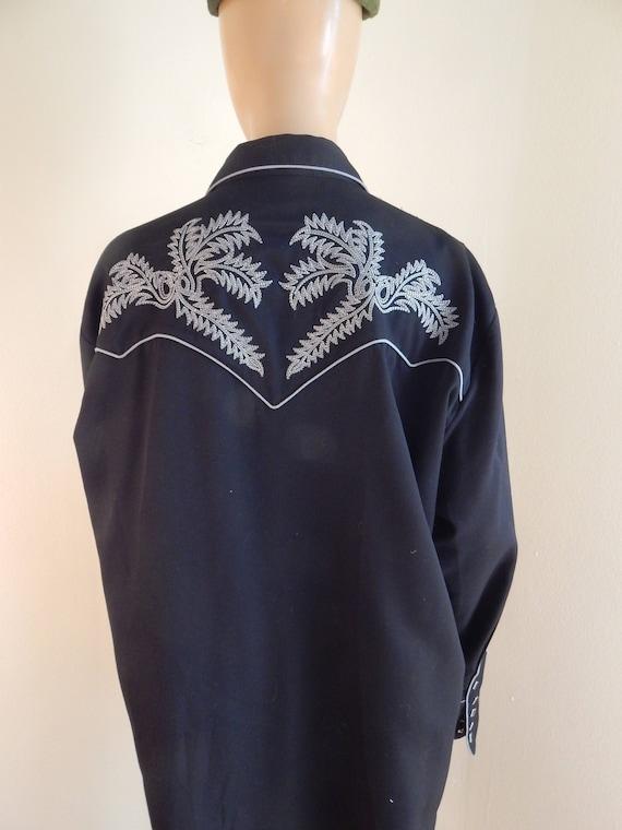 rockabilly shirt, western shirt, xl,  black shirt,