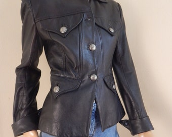 Western leather jacket, concho buttons, size small jacket
