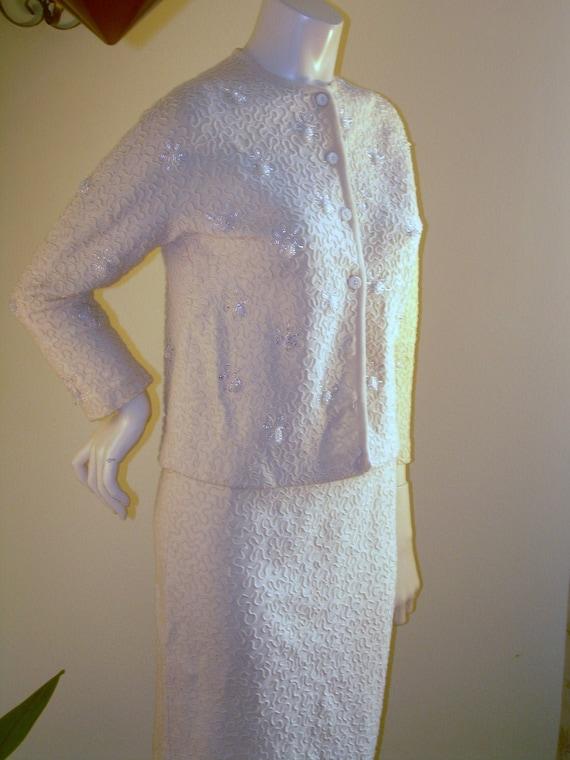 Vintage Virgin Wool Suit , Beaded wool suit, pin u