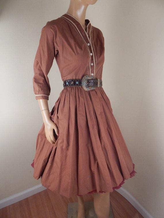 1960s swing Dress, westerm dress. square dance, Sw