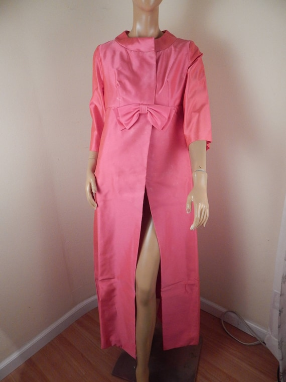 pink satin robe, house coat, hostess, gown, struct
