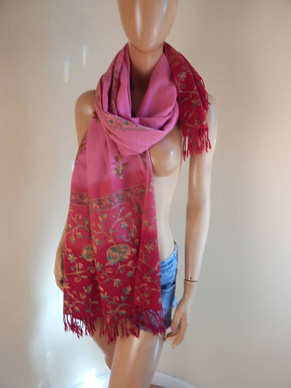 cashmere scarf, embroidered shawl
