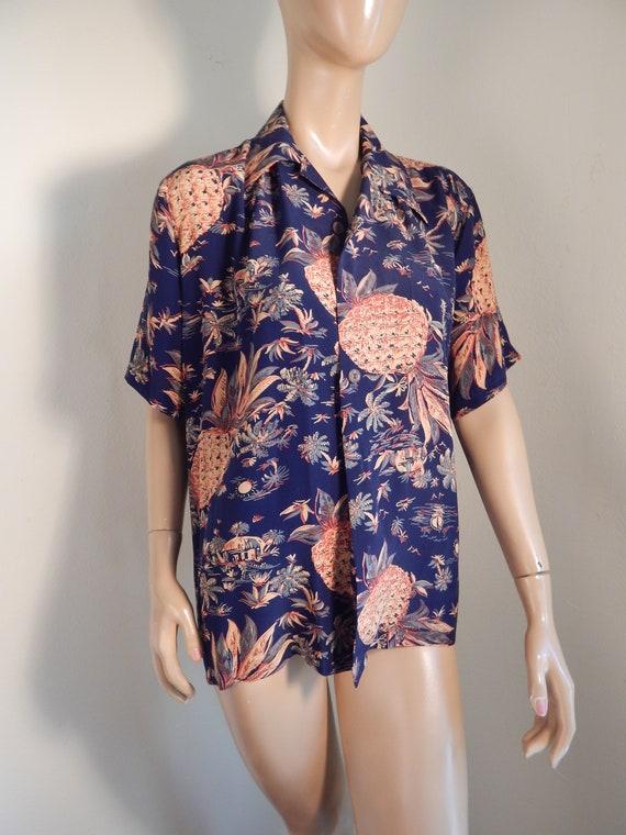 Avanti mens silky aloha shirt, hawaiian, silk shir