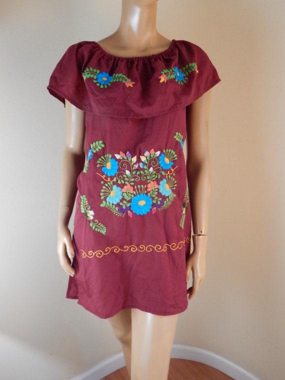 mexican dress, embroidered dress, handmade dress,