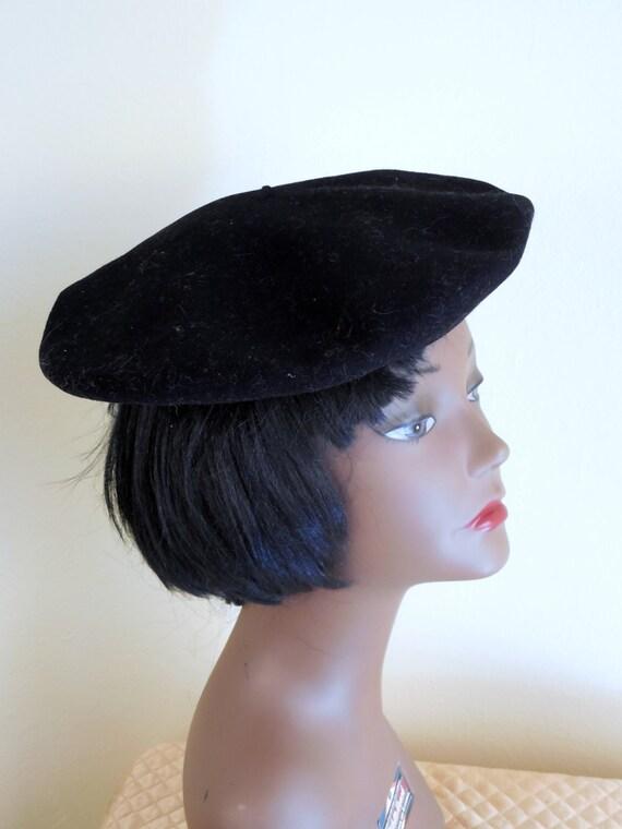 Vintage Basque beret, French Navy Beret, black ber