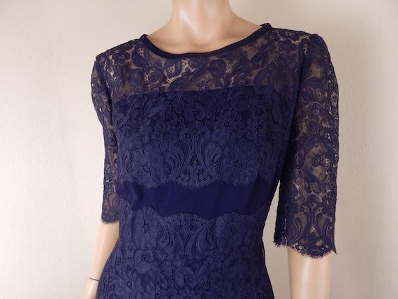navy blue lace dress, vintage navy dress, david st
