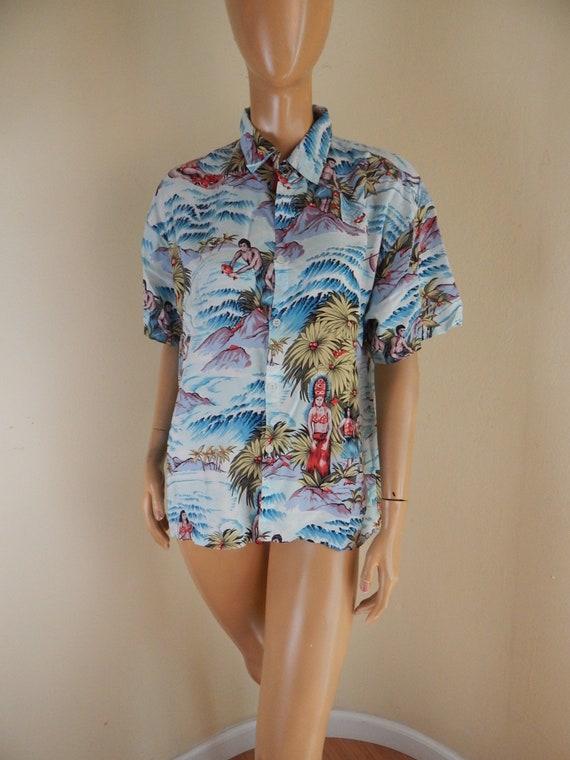 rayon silky aloha shirt. mens medium, chest 43, al