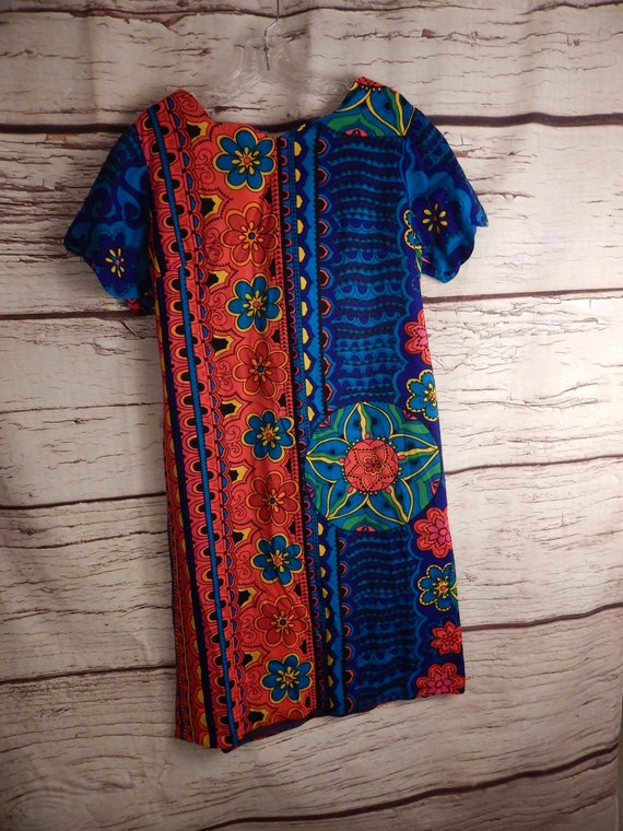 vintage barkcloth dress, muumuu, 70s dress