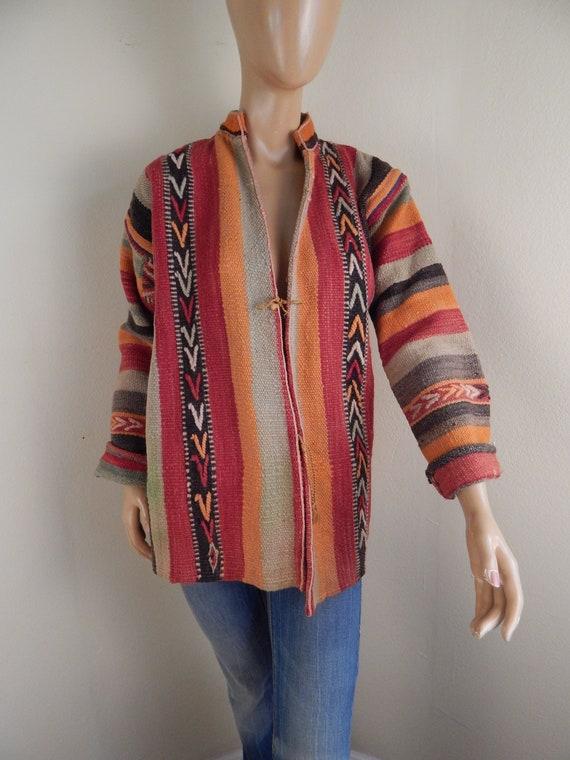 guatamalan jacket, unisex, wool jacket, serape