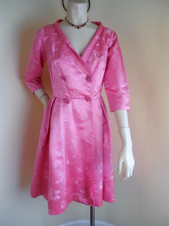 Vintage satin dress,  Hong Kong, dynasty Satin Dre