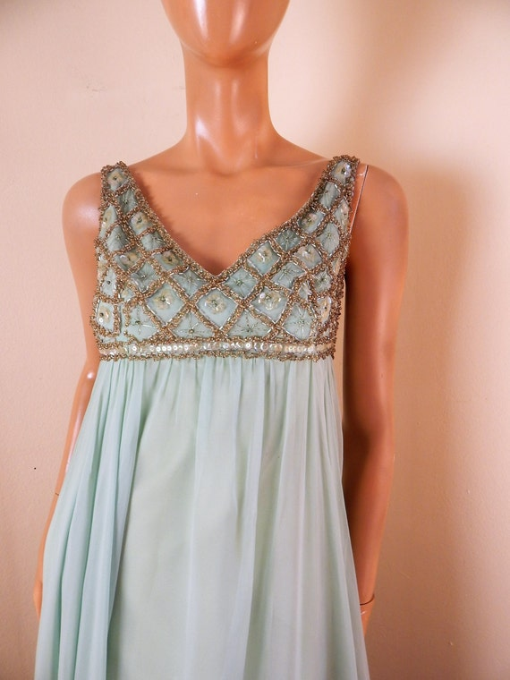 vintage chiffon dress, beaded gown, green gown, 19