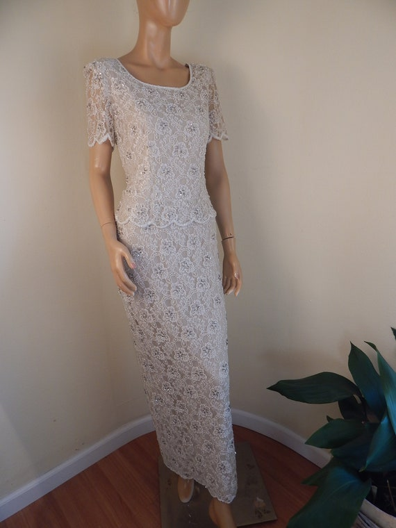 beaded dress, bridal dress, white beaded gown, pea