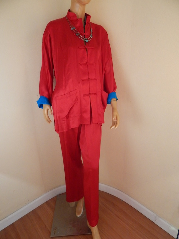 womens silk pajamas set, red kimono pajamas, cheon