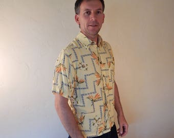 Mens silky hawaiian shirt, mens aloha shirt, hawaiian shirt, rayon shirt, medium