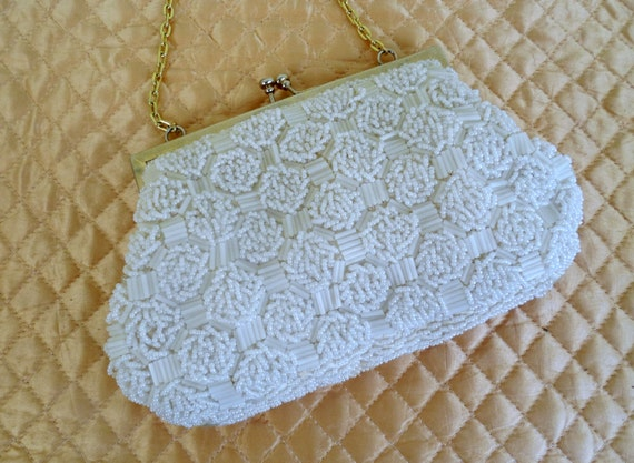 Vintage Bridal Clutch womens bugle Beads lined in satin Perf,wedding purse