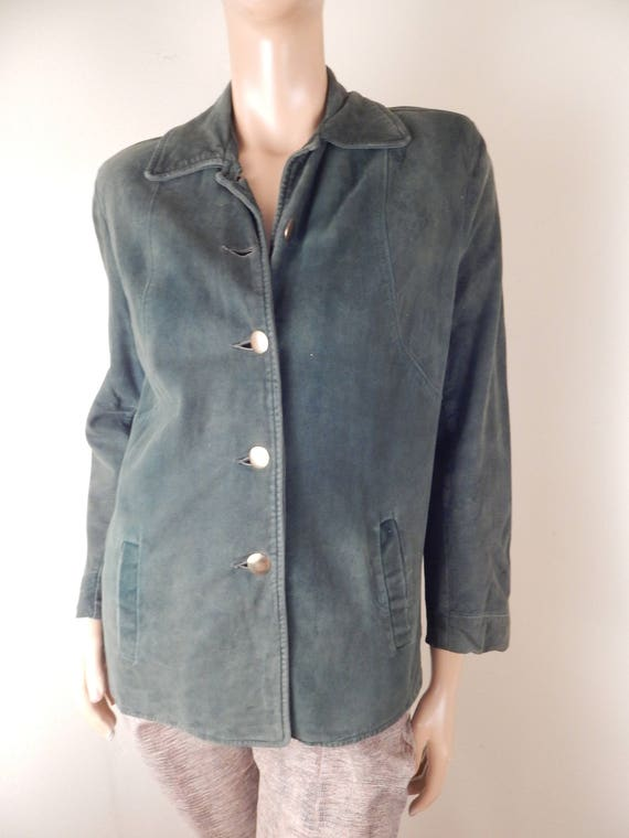 vintage 40s green suede jacket, new lining, excell