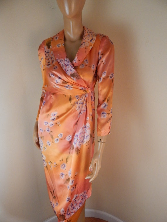Orange silk Dress, chinoiserie, lined, empire wais
