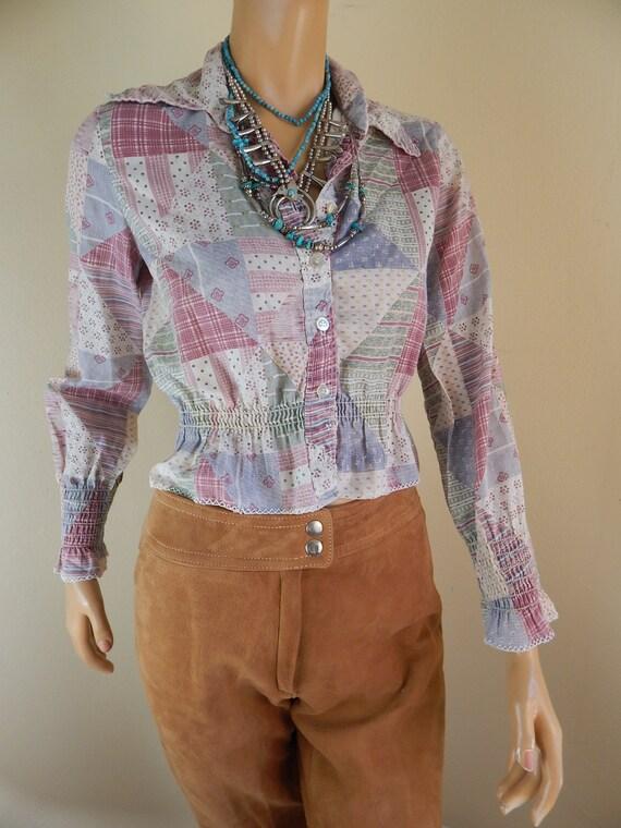 bobbi brooks patchwork blouse, vintage blouse, 197