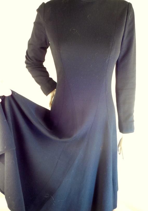 black Wool Dress, 1950s DESIGNER vintage