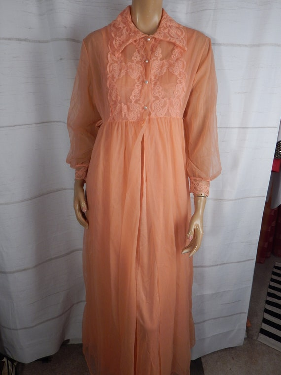 Honeymoon Peignoir, peach, sheer nightgown, sexy l