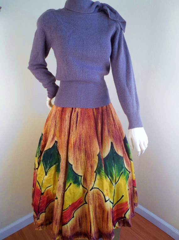 Vintage Mexican Wool Handpainted Skirt signed by a