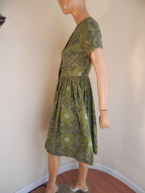 TIKI VINTAGE DRESS, womens green cotton dress, bu… - image 2