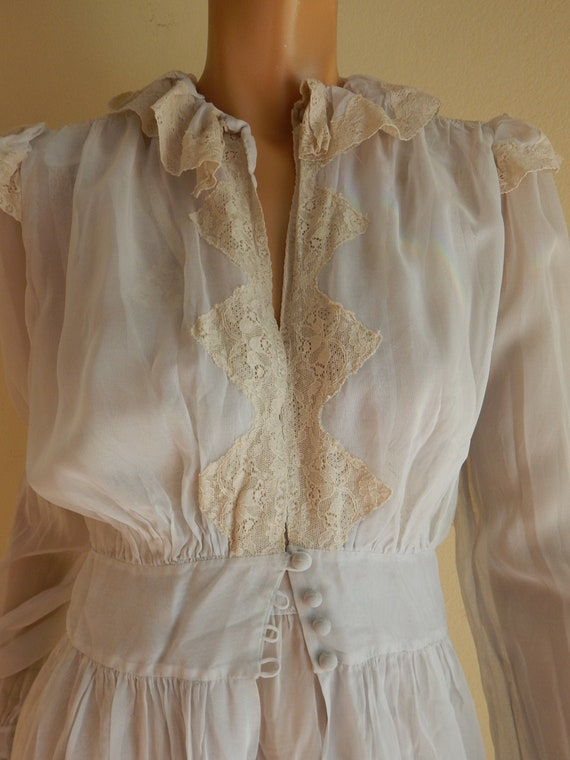 vintage 1940s nightgown and robe set, embroidered