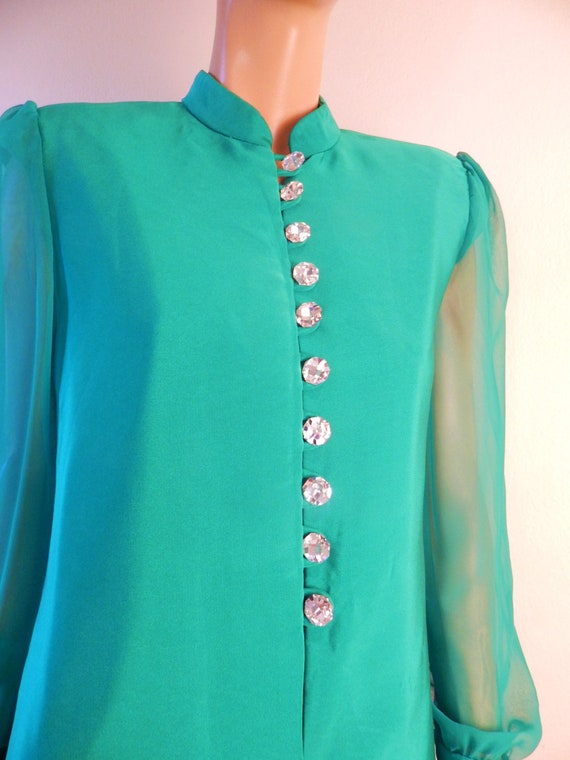 green Silk Caftan Dress, Swarovski buttons, green