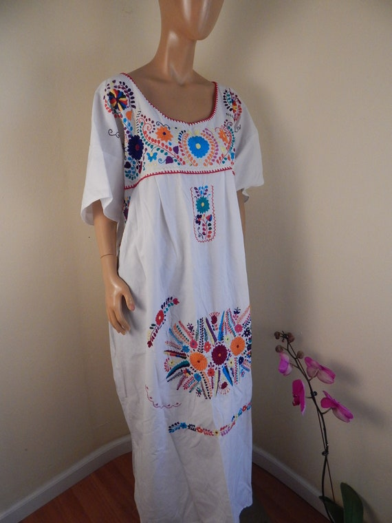 mexican dress xxl, puebla dress, all cotton, hippi