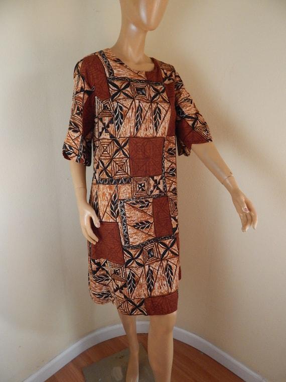Vintage Hawaiian muumuu, tapa cloth, tahitian muum
