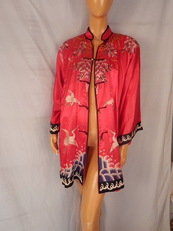 silk robe, hand embroidered, red