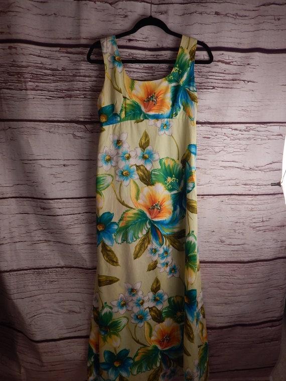 vintage muumuu, hawaiian muumuu, luau dress, 1960s