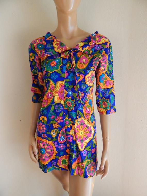 vintage barkcloth dress, gogo 60s dress, small