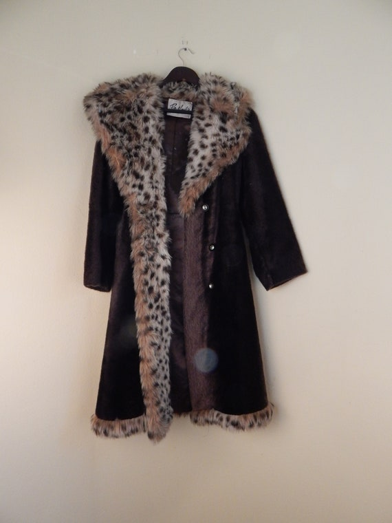 Faux leopard fur coat, bullocks, hippie fur coat,
