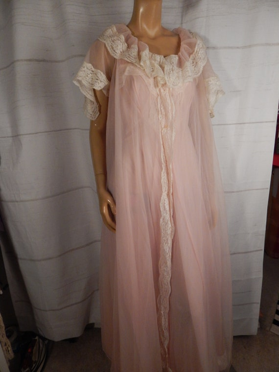 1950s sheer lingerie set, vintage peignoir, honeym