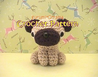 crochet dog pattern, amigurumi Pug stuffed plush toy tutorial, instant download