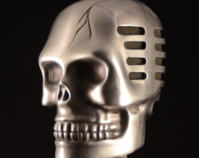 Skull Microphone  Satin Gun Metal  Gothic rock and Roll
