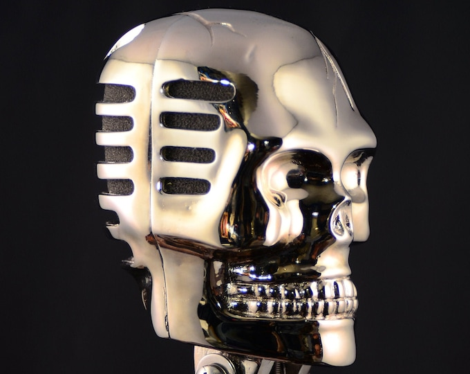 Skull Microphone  Bright Chrome Gothic rock and Roll
