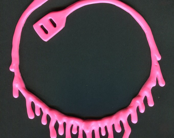 Bright Pink  Dripping Necklace  - Low hanging
