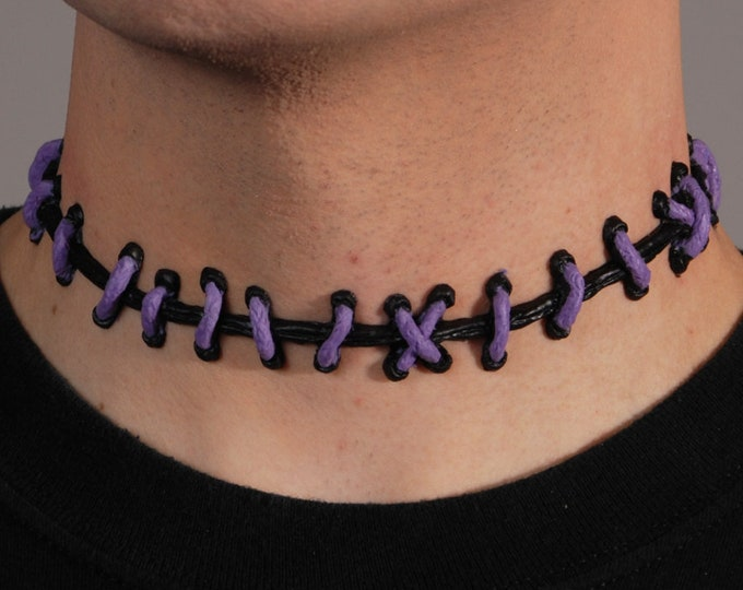 Zombie stitches -purple and black stitch necklace