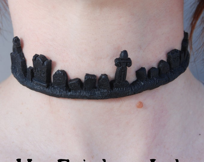 Gothic Cemetery Tombstone Necklace -Black