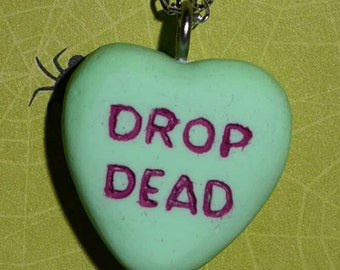 Creepy Cute  Gothic Lolita Necklace  - Drop Dead Candy Heart Rockabilly Psychobilly