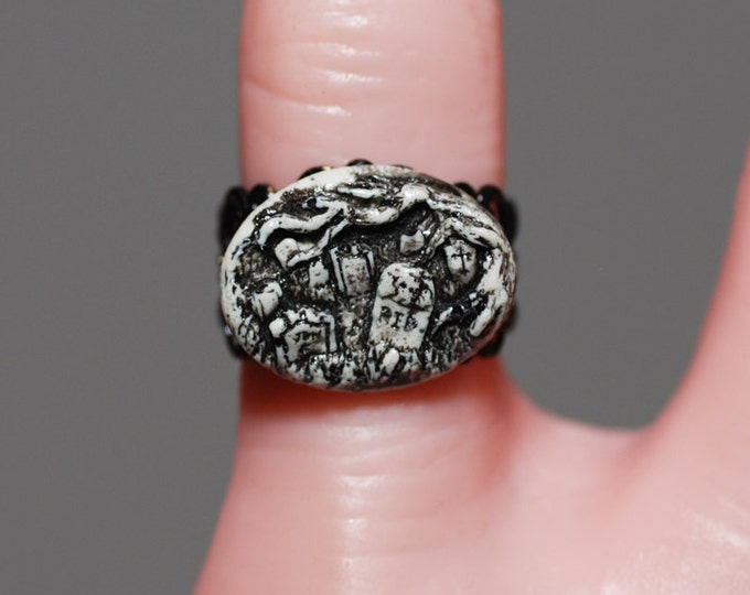 Gothic Ring  - Creepy Cute Miniature Cemetery   Ring Ivory Tone -  Horror Psychobilly Jewelry