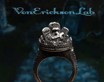 Halloween Ring Gothic Cemetery Ring  Creepy Gothic Cemetery ring with Spooky Tombstones