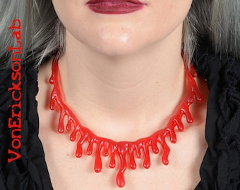Glitter Bright Red Dripping  Blood  Drip  Necklace  - Low hanging  Extra Drippy