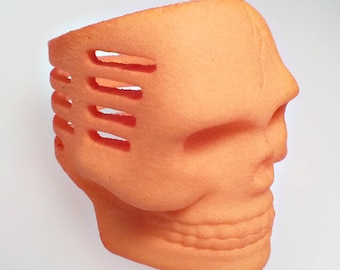 Pumpkin Orange Plastic Skull Microphone Ring